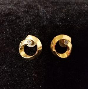 1960s vintage goldtone faux diamond earrings